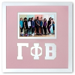 Gamma Phi Beta Sorority Friendship Frame holds 4x6 photo wall mount pink and white frame