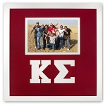 Kappa Sigma Fraternity 10x10 Friendship Photo Frame holds 4x6 photo wall mount red and white frame