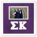 Sigma Kappa Sorority Friendship Frame holds 4x6 photo wall mount purple and white frame
