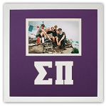 Sigma Pi Fraternity Friendship Frame holds 4x6 photo wall mount purple and white frame