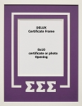 Sigma Sigma Sigma Sorority Delux Wall Mount Frame for 8x10 Certificate or Document purple and white