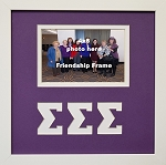 Sigma Sigma Sigma Sorority Friendship Frame holds 4x6 photo wall mount purple and white