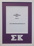 Sigma Kappa Sorority Wall Mount Frame for 8x10 Certificate or Document purple and white   (COPY)