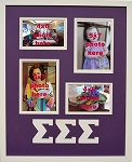 Sigma Sigma Sigma Sorority Memories Collage 16x20 Liscensed Photo Frame Holds 2-4x6 and 2-5x7 Photos with White Wood Wall Hanging Frame