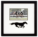 Running Black Horse Equestrian Photo Frame for 4x6 Photo Black and White