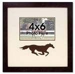 Brown Running Horse Equestrian Wood Photo Frame for 4x6 Photo