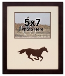 Brown Running Horse Equestrian Photo Frame for 5x7 Photo