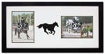 Double Photo Wall Hanging Equestrian Horse Frame Black Horse Holds Two 5x7 Photos Black and White