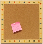Cork Board Tack board 12x12 with Pencil design wood moulding
