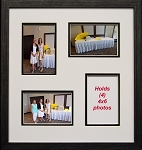 Multi Opening Photo Collage Wall Mount Picture Frame Black and White 4-opening 4x6 Black  wood frame