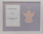 Table top Religious Childrens Photo Frame 8x10 Pink Angel Holds 4x6 Photo-White wood Frame