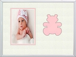 Table Top Childrens Pink Teddy Bear Infant Photo Frame 8x10 Hold 4x6 Photo-white metal frame