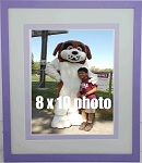 Children's Nursery Wall Mount Photo Frame 8x10 Matting Purple and Green