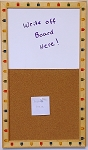 Organizational Tack Board Cork Board & Dry Erase Combination Board Overall Size 14x23 with Wood Pencil Frame