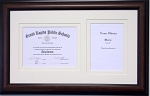 Graduation Diploma Certificate Photo Frame Matted Holds 6 X 8 Certificate with 5 X 7 Photo Double White Mats