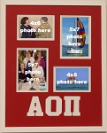 Alpha Omicron Pi Sorority 16x20 memory collage frame holds two(2) 4x6 and two(2) 5x7