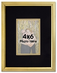 Elegant Black or White and Gold Picture Frame for 4x6 Photo with Double Matting - Three interchangeable mats for custom layout