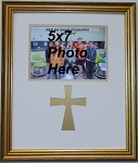 Christian Gold Wood Wall Mount Photo Frame with cross and 5x7 photo opening