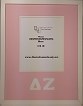 Delta Zeta Sorority Standard certificate photo frame 8x10 opening wall mount pink and white