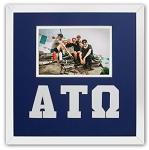 Alpha Tau Omega Fraternity 10x10 Friendship Frame holds 4x6 photo wall mount blue and white frame