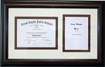 High School Diploma Certificate 6x8 with 5x7 Photo Brown Frame Double mat