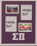 Sigma Pi Fraternity 16x20 memory collage frame holds two(2) 5x7 and two(2) 4x6 photos