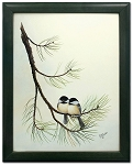 Audubon Chickadee Wildlife Nature Bird Print 11 x 14 Wall Decor - Green Frame
