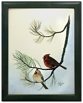 Audubon Cardinal Wildlife Nature Bird Print 11 x 14 Wall Decor - Green Frame