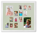 Pastel Collage Picture Frame Multi Opening Two 5x7 and Twelve Wallet 2.5x3.5 Photos Children's School Photo Years K-12 Baby 1st Year Memories Keepsake