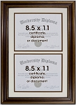 Double Diploma Document Certificate Openings Wood Picture Frame for Two 8.5x11
