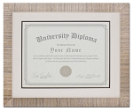 Graduation Diploma University Certificate 8-1/2 x 11 Matted light tan Frame 15 x 13