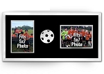 Soccer Ball Photo Frame Wall Hanging - Holds Two (2) 5x7 Photos Double Black and White Picture Frame