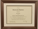 Graduation Diploma  8-1/2 X11 Certificate  Triple Matted Bronze Frame