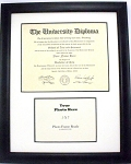Graduation Diploma University Certificate 8-1/2 X 11 with 5 X 7 Photo Black Frame Matted