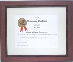 Graduation Diploma Certificate University College 8-1/2 x 11 Matted Brown Frame