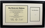 University Diploma Certificate Frame 8-1/2 x 11 with 5x7 photo opening Black Frame