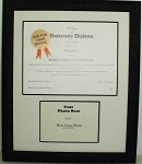 Graduation Diploma University Certificate 8-1/2x11 with 5x7 Photo Matted Frame Black textured Fram