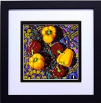 Red Yellow Peppers Vegetable Collage Art Food Kitchen Wall Decor Print 12x12 Black Frame