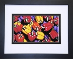 Red Yellow Purple Peppers Vegetable Collage Food Kitchen Wall Decor Print 14x11.25 Black Frame