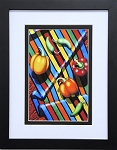 Red Yellow Orange Chili Peppers Collage Vegetable Art Food Kitchen Wall Decor Print 11.25x14 Black Frame