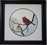 Audubon Red Cardinal Wildlife Nature Bird Print 11 x 11 Wall Decor
