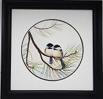 Audubon Chickadee Wildlife Nature Framed Bird Print 11 X 11 Wall Decor