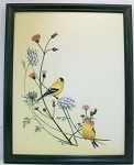 Audubon Yellow Finch Wildlife Nature Bird Print 11 x 14 Wall Decor-Green Frame