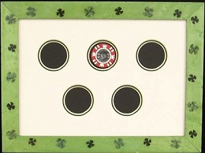 Casino Playing Chip Display Holder Green Shamrock Wall Decor Display