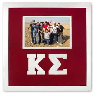 Kappa Sigma Fraternity Friendship Frame holds 4x6 photo wall mount red and white frame