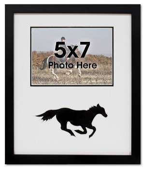 Running Black Horse Equestrian Photo Frame for 5x7 Photo Black and White
